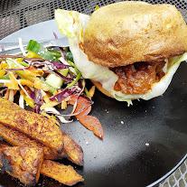 "Pulled barbecue ""pork"" jackfruit and summer slaw"