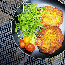 Sweetcorn and red pepper pancakes